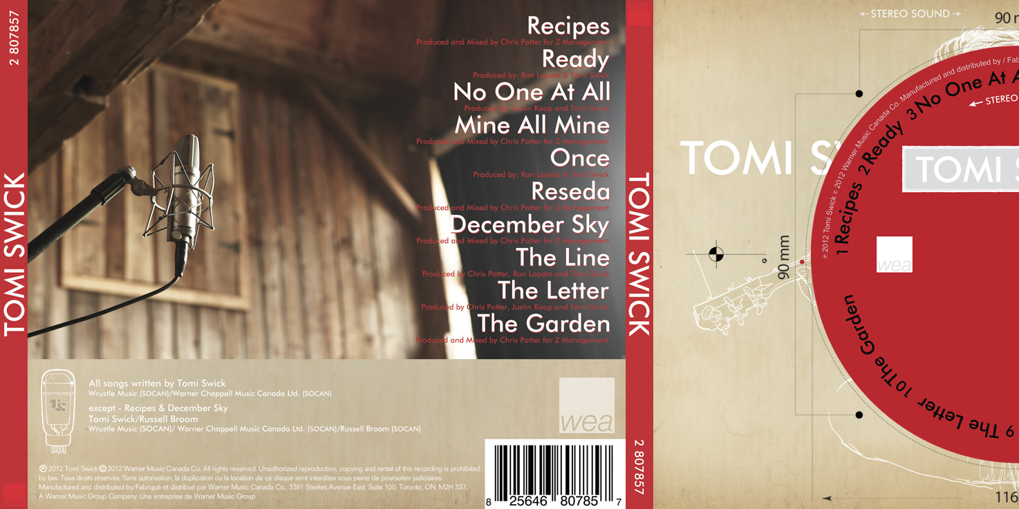 Tomi Swick Back Panel CD Layout 2012l