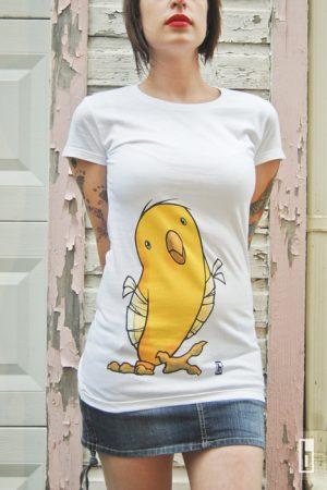 Womens Broken Winged Bird White T Shirt from bowmanitis