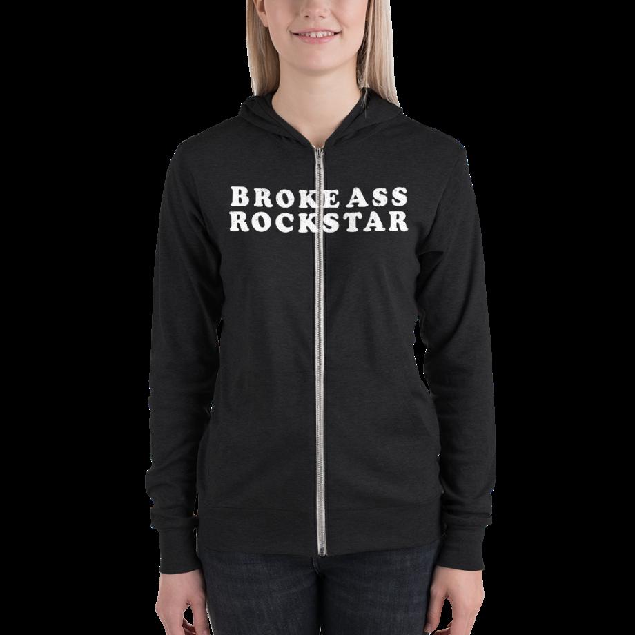 Woman wearing Broke Ass Rockstar Zipup Hoody