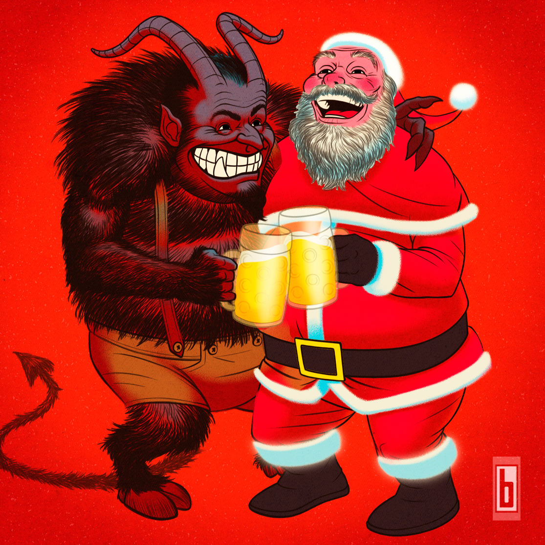 Krampus & Santa Happy Holidays Zoom 01