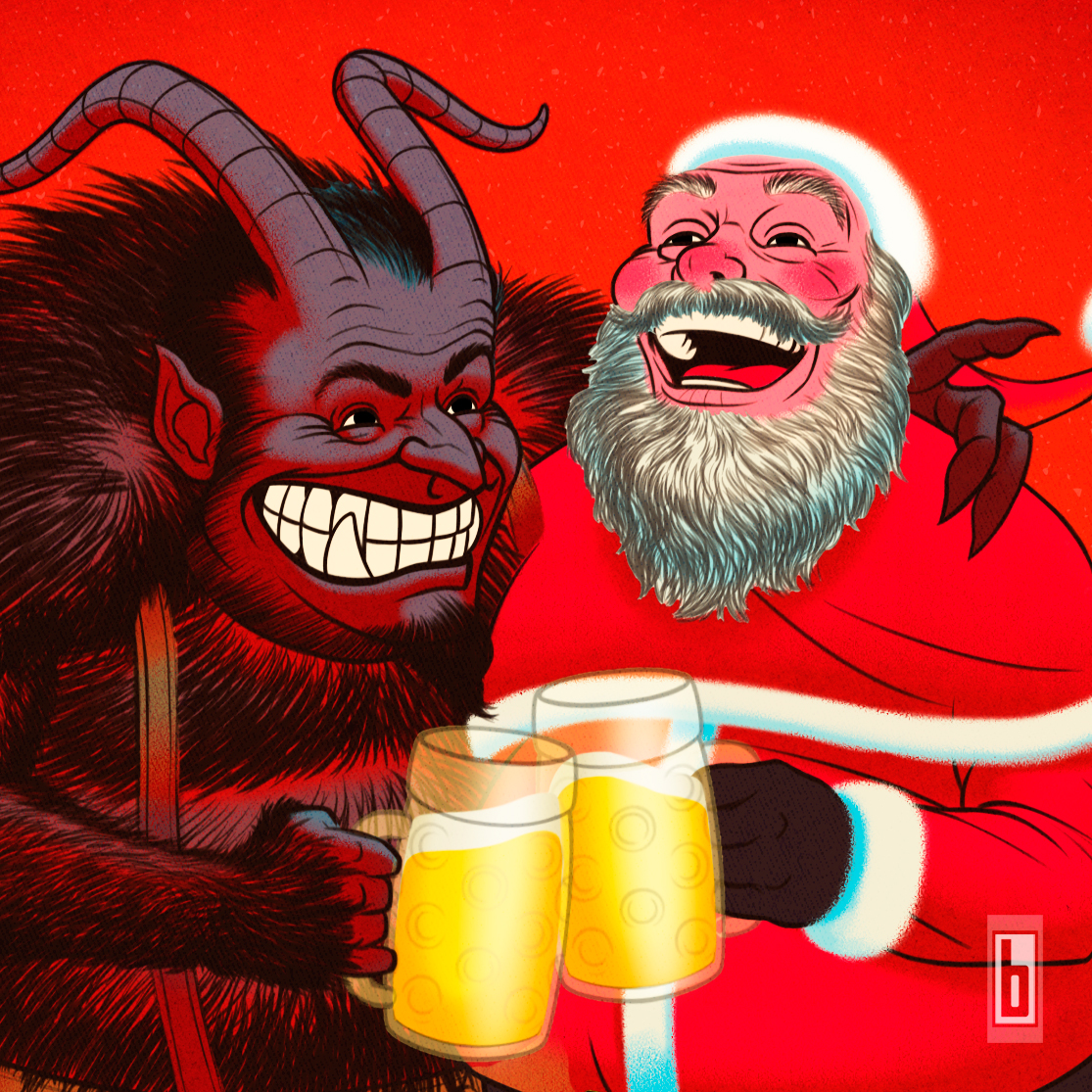 Krampus & Santa Happy Holidays Close Up