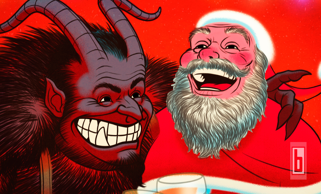 Krampus & Santa wide close up