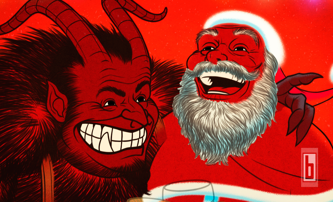 Krampus & Santa wide No colour fills close up